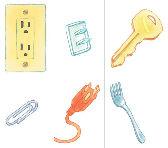 Which items are not safe to put in an electrical outlet an outlet cover, key, paper clip, plug or fork.