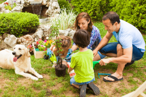 Mother and father with two kids and dog planting tree