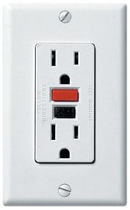 Close up of GFCI outlet