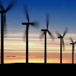 Wind turbines with sky background