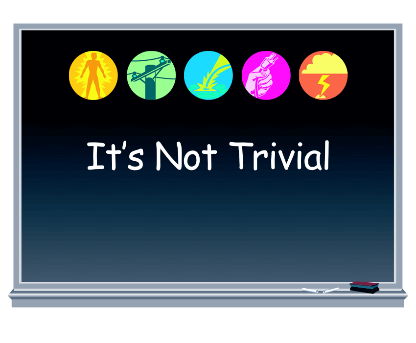 It's Not Trivial Electric Game illustrated text on chalkboard with chalk and eraser