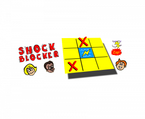 Shock Blocker Game illustrated text with children's face and game board with lightning bolt in middle